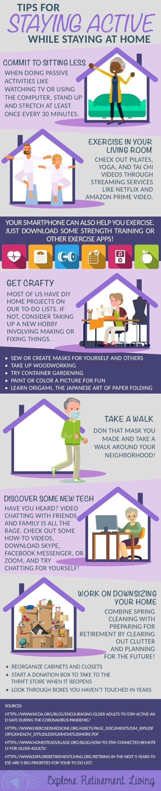 Infographic discussing tips for staying active at home as an older adult