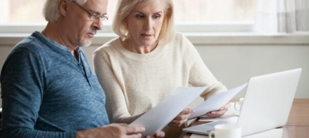 Senior couple considering their independent retirement community options