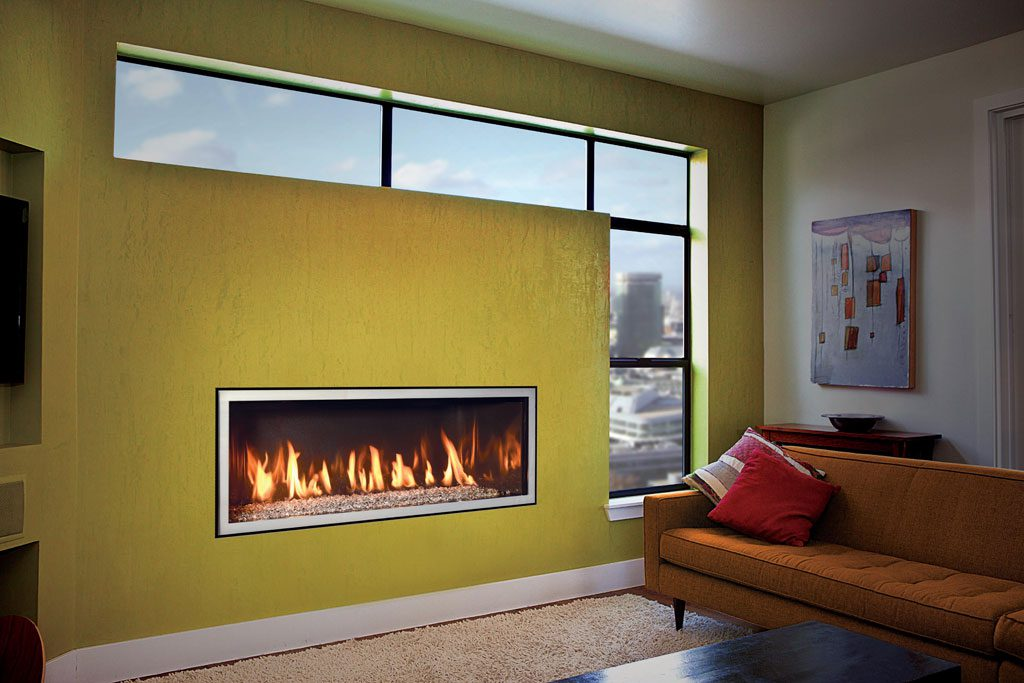 unique DaVinci fireplace with safe touch glass