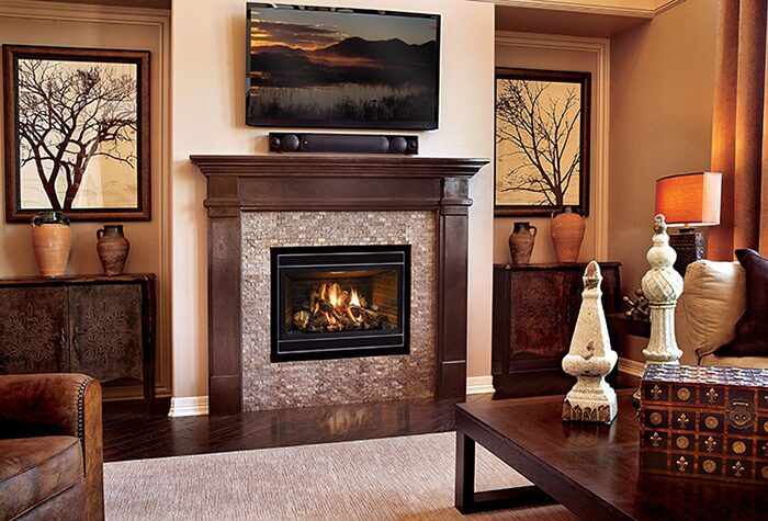 warm room with fireplace
