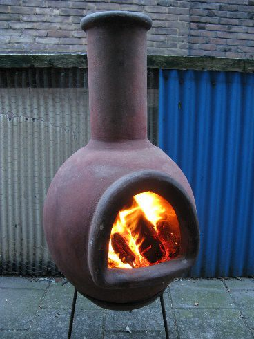 metal and clay chimineas