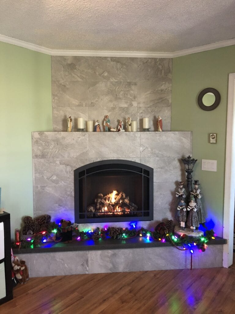 gas fireplace with christmas lights