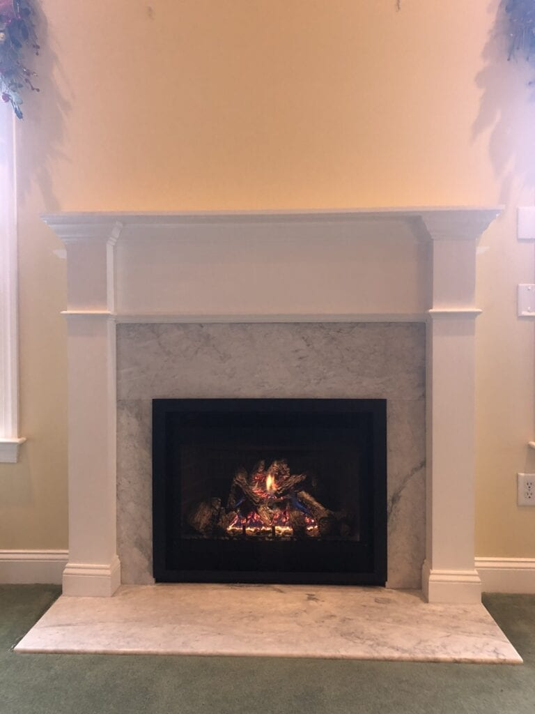 new gas fireplace on marble floor