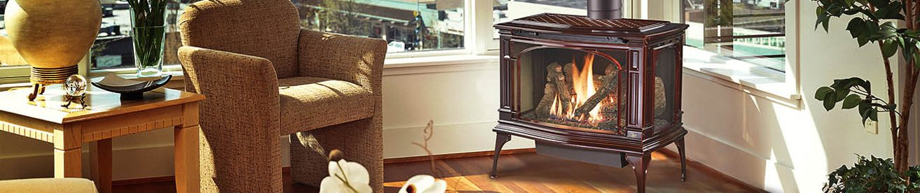 brown ceramic gas stove in living room