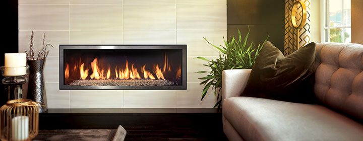 rectangle fireplace burning