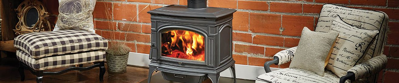 woodstove with white armchair
