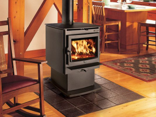 black stove with fire