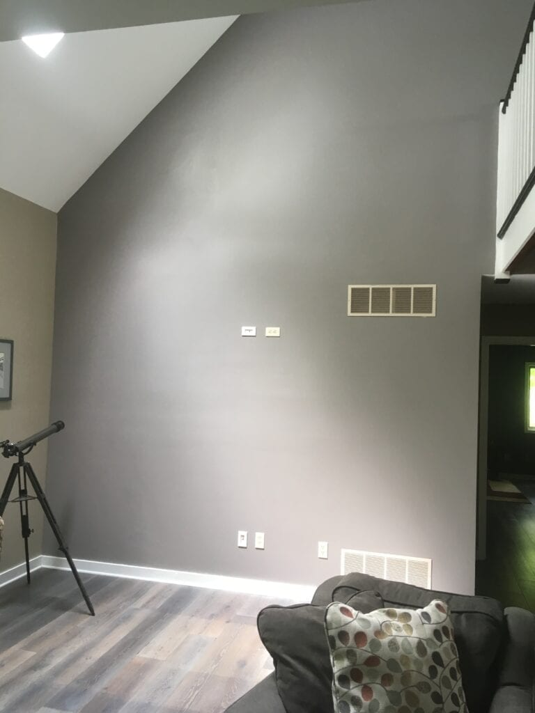 interior wall before fireplace installation