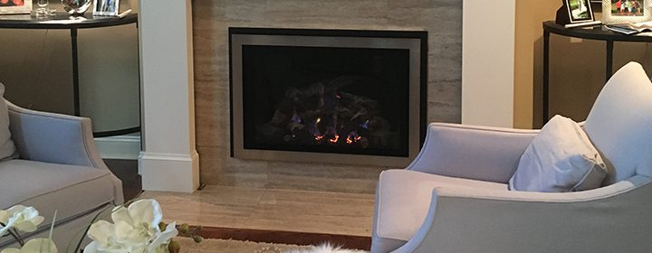 fireplace insert on grey stone hearth