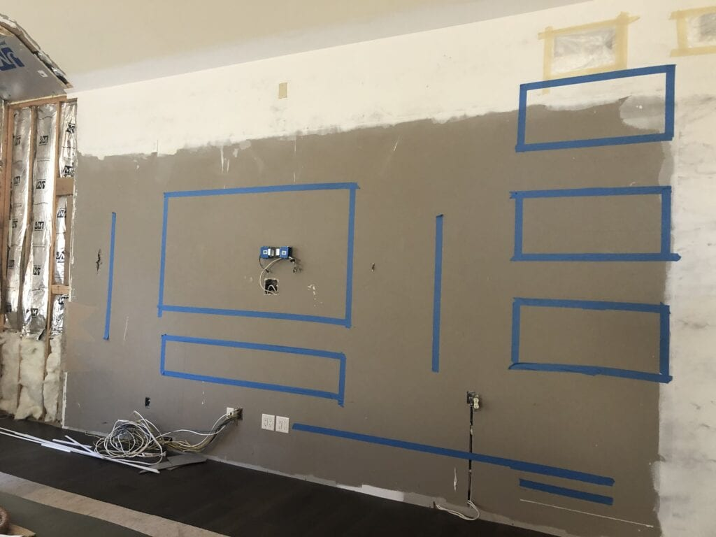 interior wall with painters tape