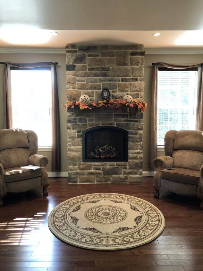store-bordered fireplace