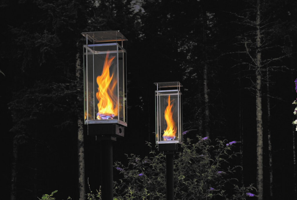 The Tempest Torch creates a brilliant spiral flame to provide outdoor lighting.
