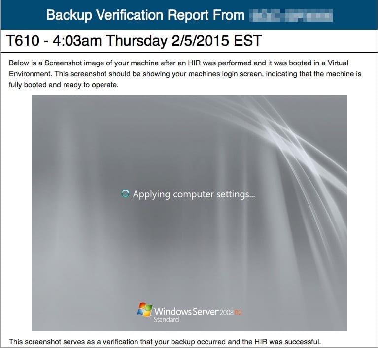 backup verification report screenshot