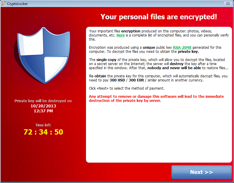 ransomware cryptolocker alert message