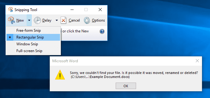 Windows snipping tool example