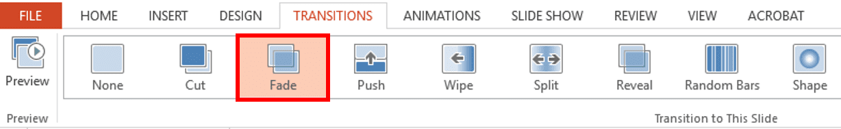 powerpoint fade transitions