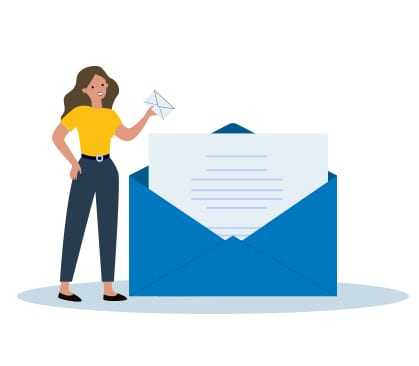 illustrated lady holding letter standing next to large envelope