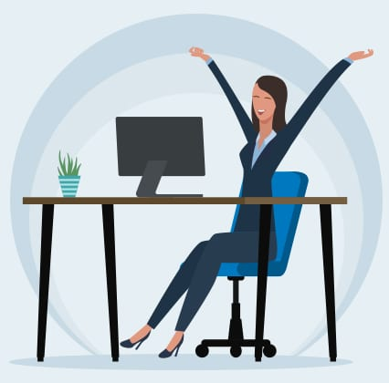 illustrated woman happy at computer desk