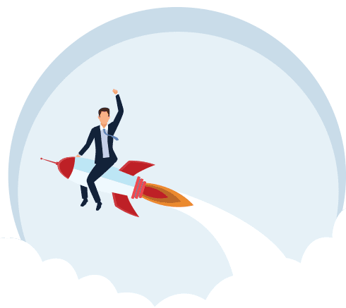 man riding on rocket out of clouds