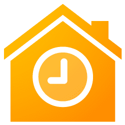 Illustration of an isolated house icon with a clock
