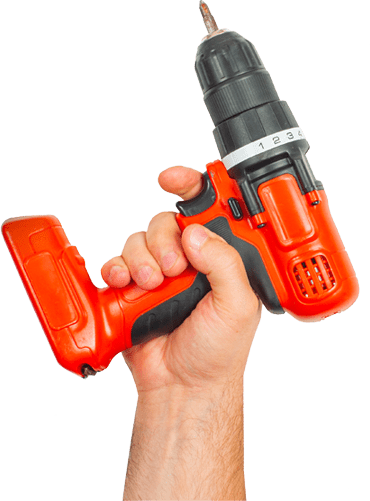 Power drill in hand