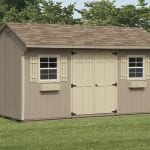 10 x 16 quaker shed with 2 windows and double door
