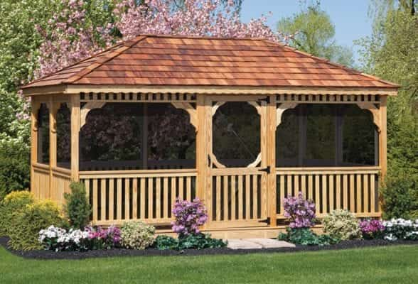 A wood rectangle gazebo features a screen for bug control.