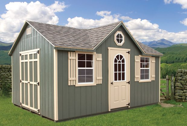 A green chalet shed is perfect for extra storage space in your yard.