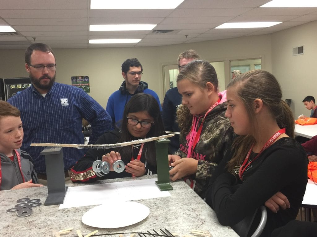 students gathered around an experiment