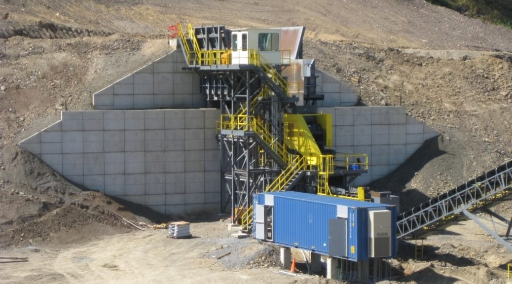 Cement wall with crushing machine