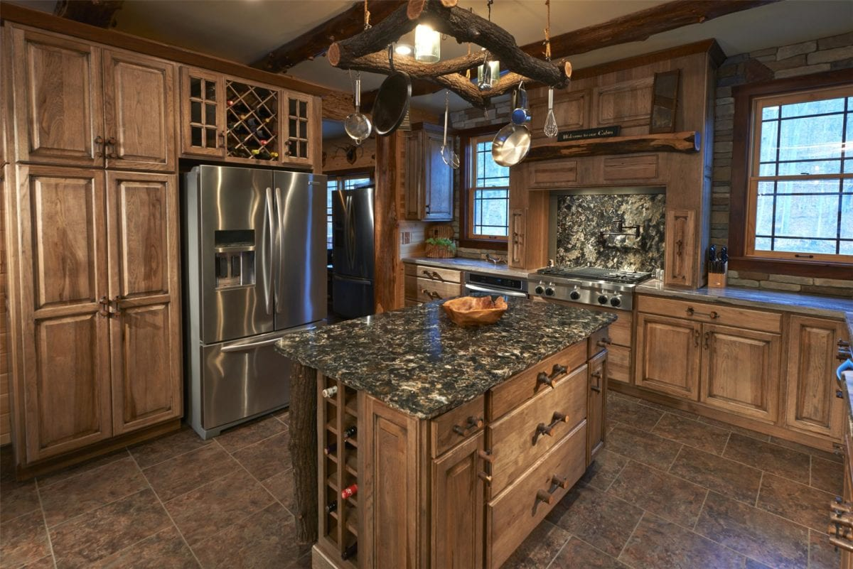 Alternate angle of Outdoor influenced cabinets and kitchen