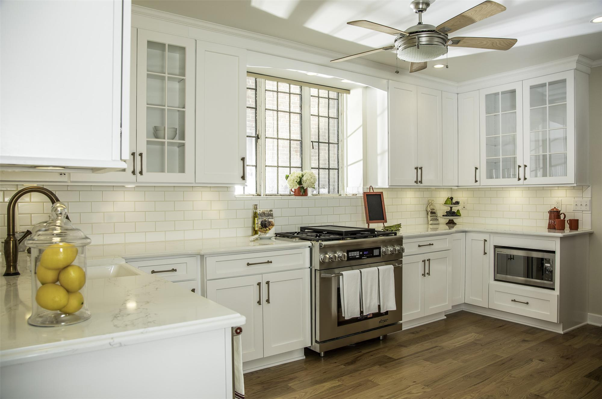 kitchen with glass-doored cabinets