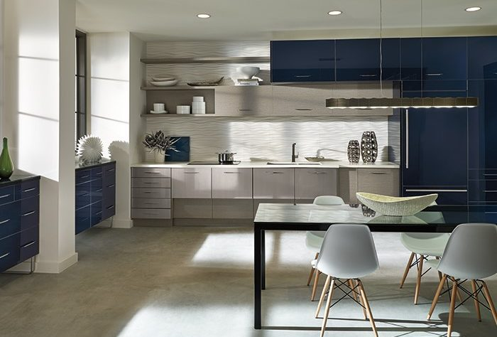 blue and white clean kitchen