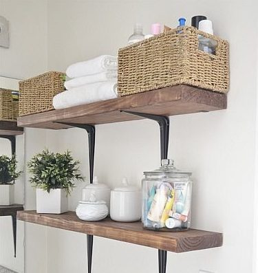 stacked shelving with baskets