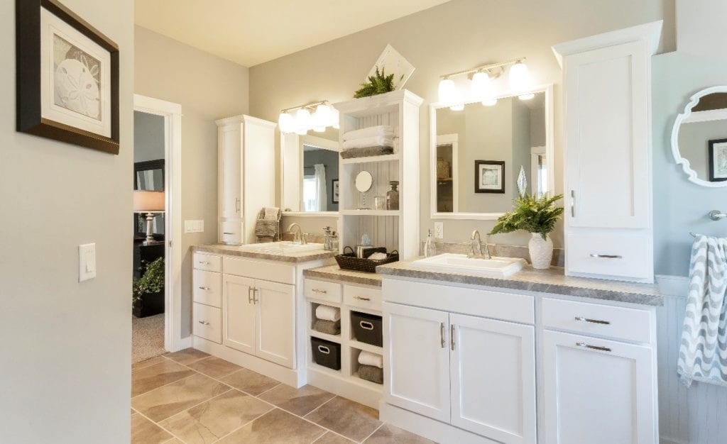 bathroom with two sinks and vanities