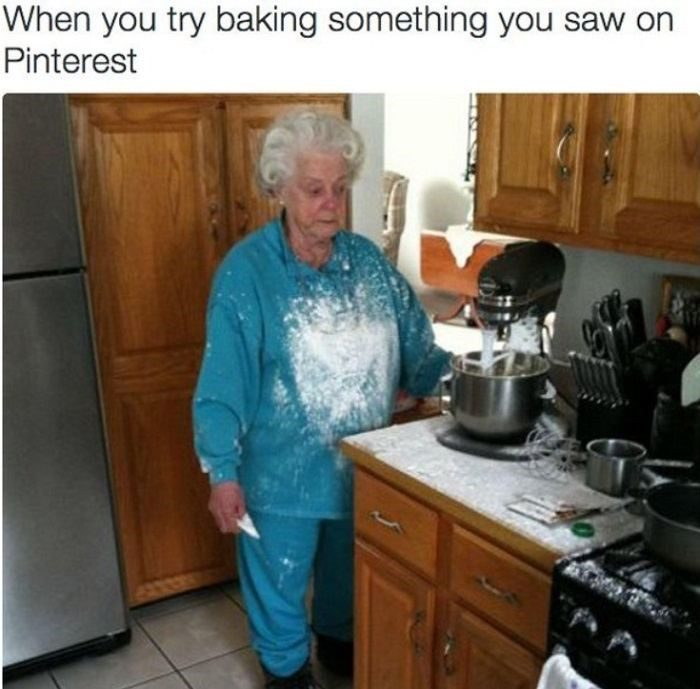 woman covered in flour
