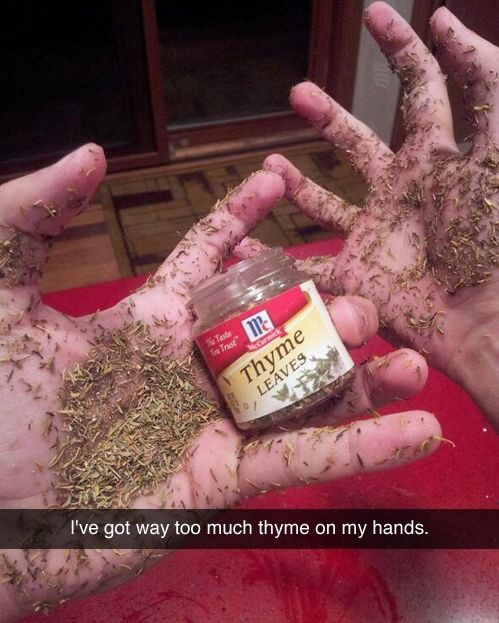 thyme leaves on hands