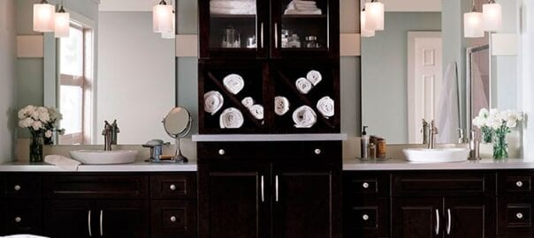 Updated double vanity in a master bathroom by Red Rose Cabinetry