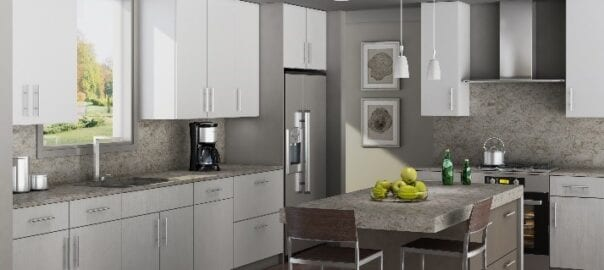 Modern looking kitchen with concrete countertops