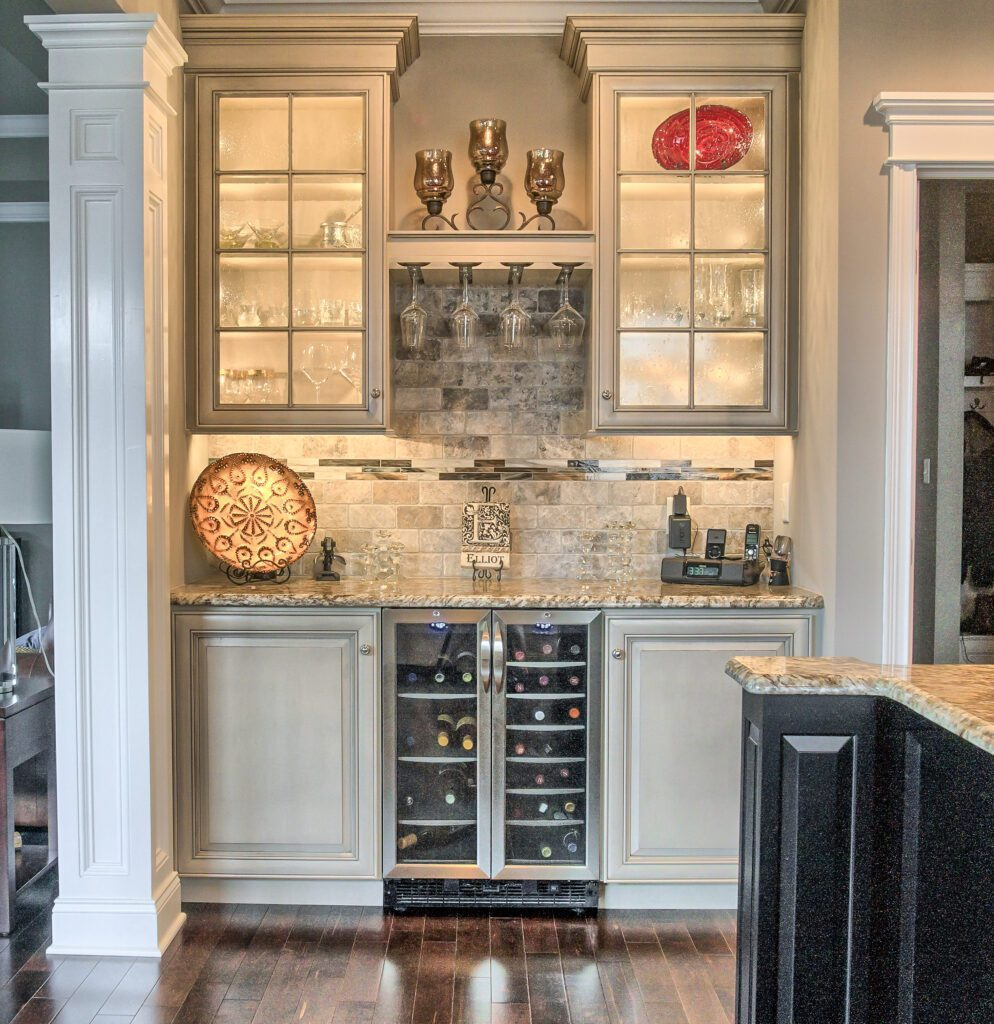 White cabinets with glass fronts are the perfect way to highlight a few special items