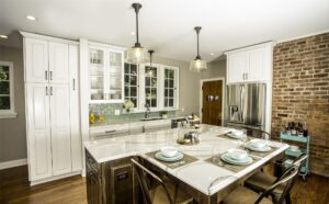 Marble countertops provide a classy look for a kitchen.