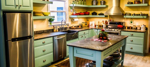 ]: Brand new kitchen countertops provide a cohesive look for this kitchen.