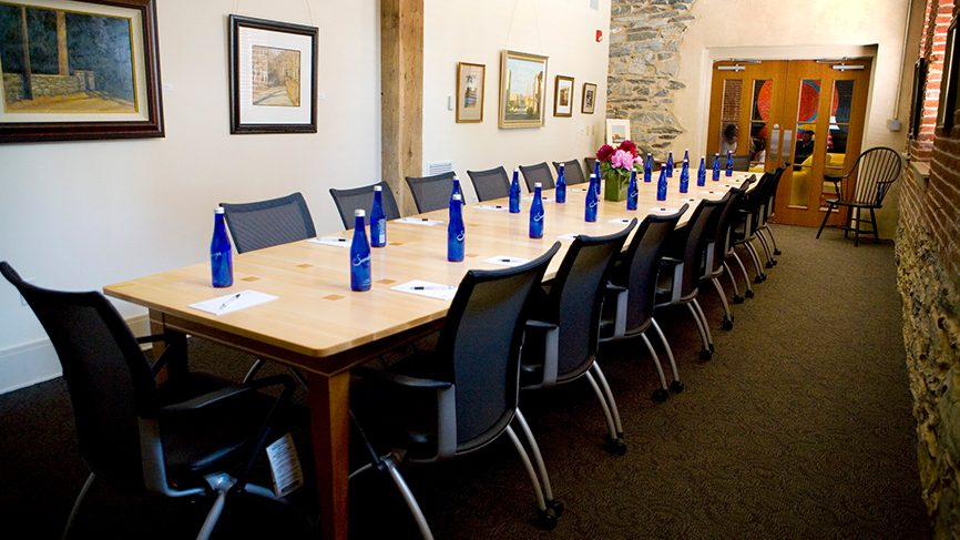 long conference table and chairs