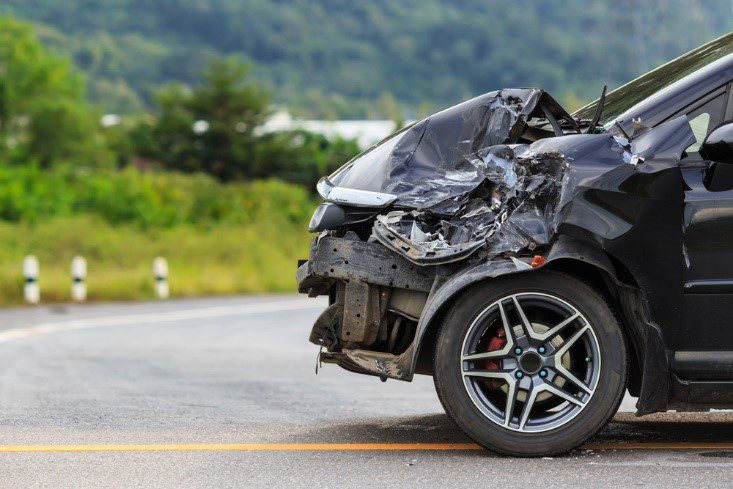 side profile of a wrecked car after a hit and run accident