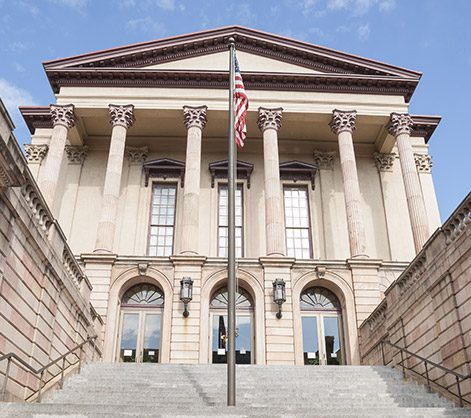 Romanesque architecture of the Lancaster County Courthouse, Pennsylvania USA