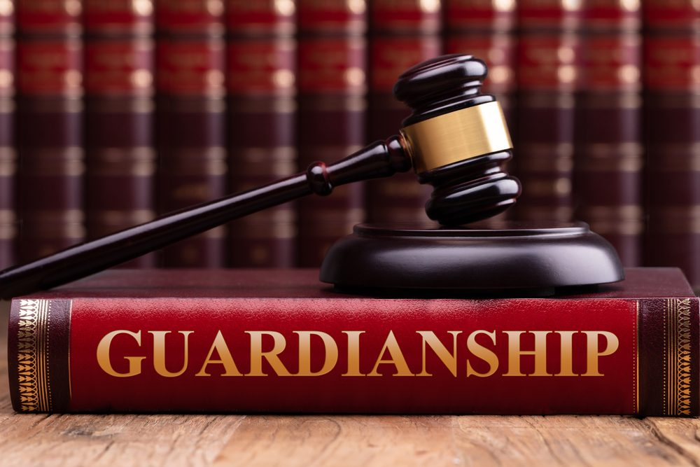 """Gavel and striking block on law book with """"Guardianship"""" title on wooden desk"""