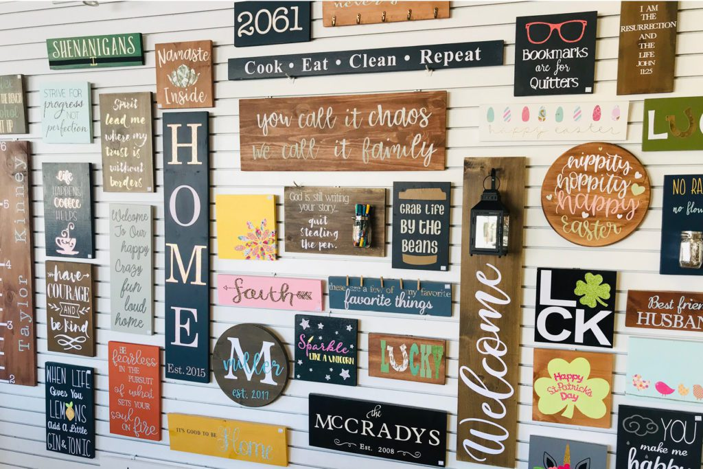 display wall of craft projects
