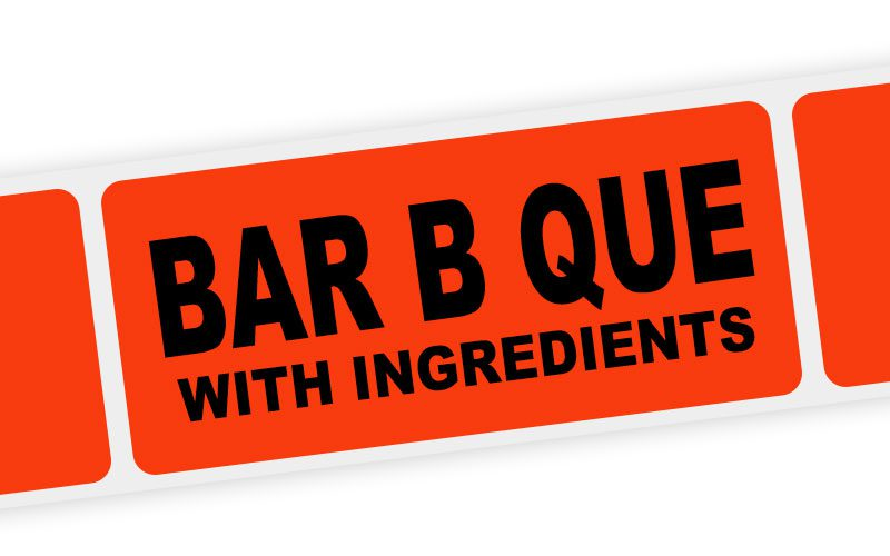 bar b que with ingredients label