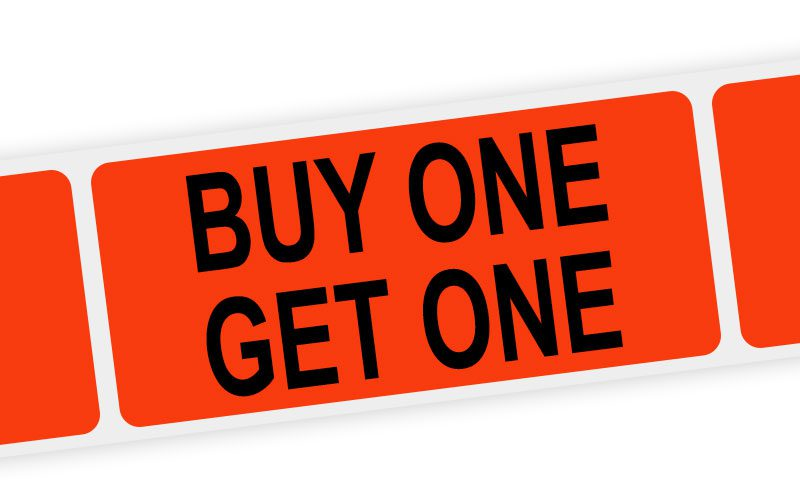 buy one get one label