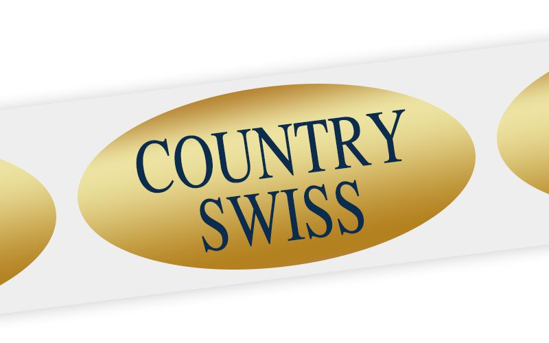 country swiss cheese label